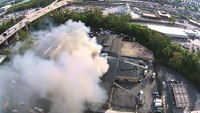 Drone video: Multi-alarm commercial building fire in Pa.
