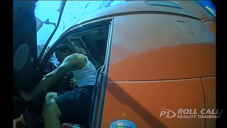 Reality Training: Big rig driver suddenly attacks cop with screwdriver