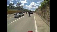 Motorcycle fail: Riding a wheelie right into a cop car