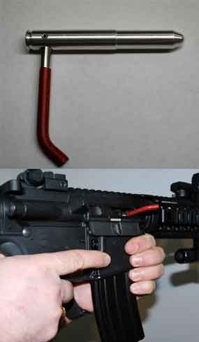 The Safe Cycle's red handle serves as a visual for the weapon's owner that it will not fire rubbing up against other equipment or a part of the vehicle. (Photo courtesy WarriorTech)