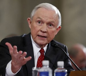 In this Jan. 10, 2017 file photo, then-Attorney General-designate, Sen. Jeff Sessions, R-Ala., testifies on Capitol Hill in Washington at his confirmation hearing before the Senate Judiciary Committee. (AP Photo/Alex Brandon, File)