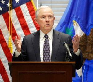 In this July 12, 2017, file photo, Attorney General Jeff Sessions speaks to federal, state and local law enforcement officials about sanctuary cities and efforts to combat violent crime, in Las Vegas.