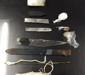 This March 5, 2015 photo provided by the New York City Department of Correction shows homemade weapons confiscated from Rikers Island jails in New York during sweeps on March 3 and March 4.