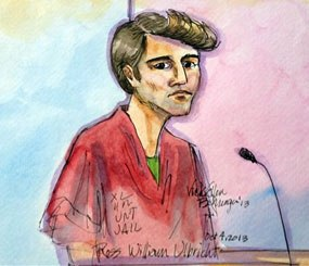 An artist rendering depicts Ross William Ulbricht during an appearance at federal court in San Francisco. Authorities say that Ulbricht had spent most of three years