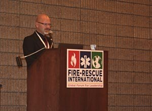 Photo Jamie Thompson Dr. Svensson speaks about firefighter safety during a session at Fire-Rescue International.