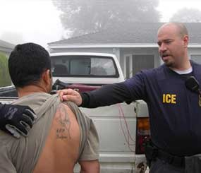 In this photo provided by U.S. Immigration and Customs Enforcement, ICE officers check a tattoo to log any identifiable gang affiliation in Los Angeles, in this photo, date unknown during a nationwide summer crackdown. (AP Photo/ICE)