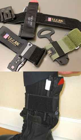 The Tactical Under Carry (T.U.C.) rig is an alternative strap used to carry survival equipment needed on duty, such as a tourniquet or extra knife.