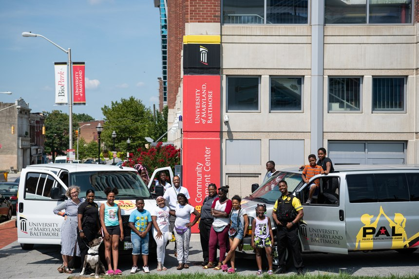 The University of Maryland, Baltimore Police Department rolls out two new vans for the PAL Program. (Photo/UMBPD)