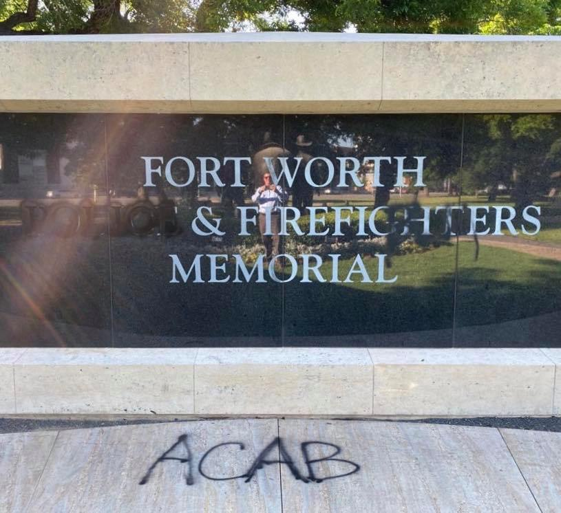 "The Memorial was also tagged with ACAB, which stands for ""All Cops Are Bastards."" (Photo/Fort Worth Police Officers' Association Facebook page.)"