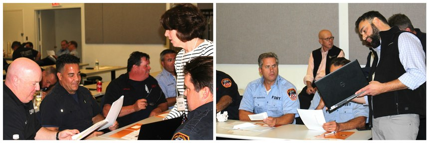 Photos, left to right - 15-40 president/executive director Tricia Laursen teaching 3 Steps Detect to FDNY members. 15-40 VP of Development Alec Elbert teaching 3 Steps Detect to FDNY members.