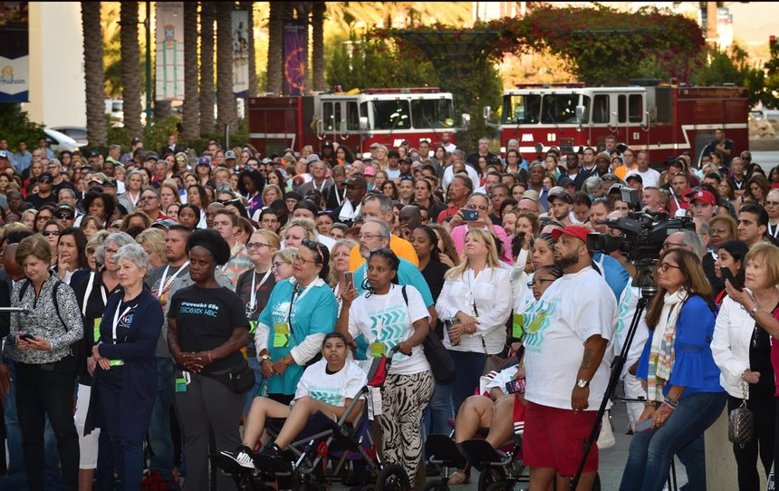 Burn survivors and their supporters who participated in a Walk of Remembrance gather to hear speakers at the start of the four-day Phoenix World Burn Congress at the Anaheim Convention Center on Wednesday, Oct. 2.