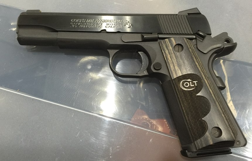 The thumb safety, grip safety, trigger, magazine button, grips and slide lock on this Colt Series 70 1911 can all be replaced to custom fit the gun for a variety of hand sizes.