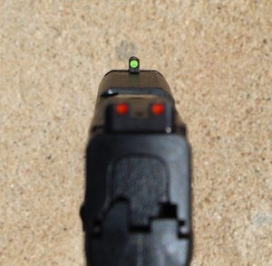 Fiber optic sights with different colors between the front and rear are helpful in target acquisition. (Photo/Warren Wilson)