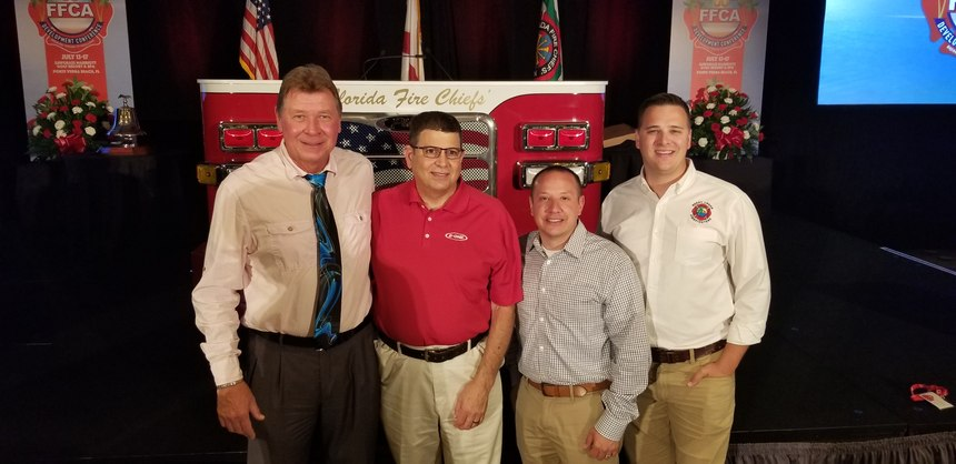 Left to right: Firefighter-EMT Rick Spence, Fire Chief Richard Lepere, Deputy Chief Eric Ferrari, Firefighter-paramedic Aaron Colburn.