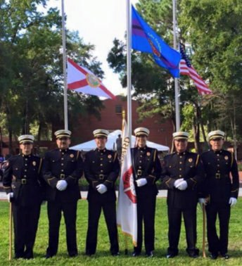 The Sarasota County Fire Department's Honor Guard uniforms are made of 100% wool fabric.