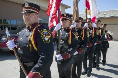 """Yocha Dehe Fire Department firefighters sport black uniforms that signify """"power, pride and professionalism,"""" according to NAUMD."""