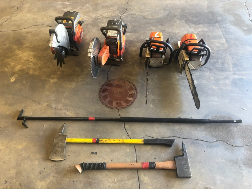 Proper tool selection is imperative before proceeding to the roof. All too often, a ventilation operation fails because of poor equipment choices. Choose the proper tool and blade for the job. Take the time to size-up your roof before climbing that ladder. Know and understand a blade's ability as well. (Photo/Chris DelBello)