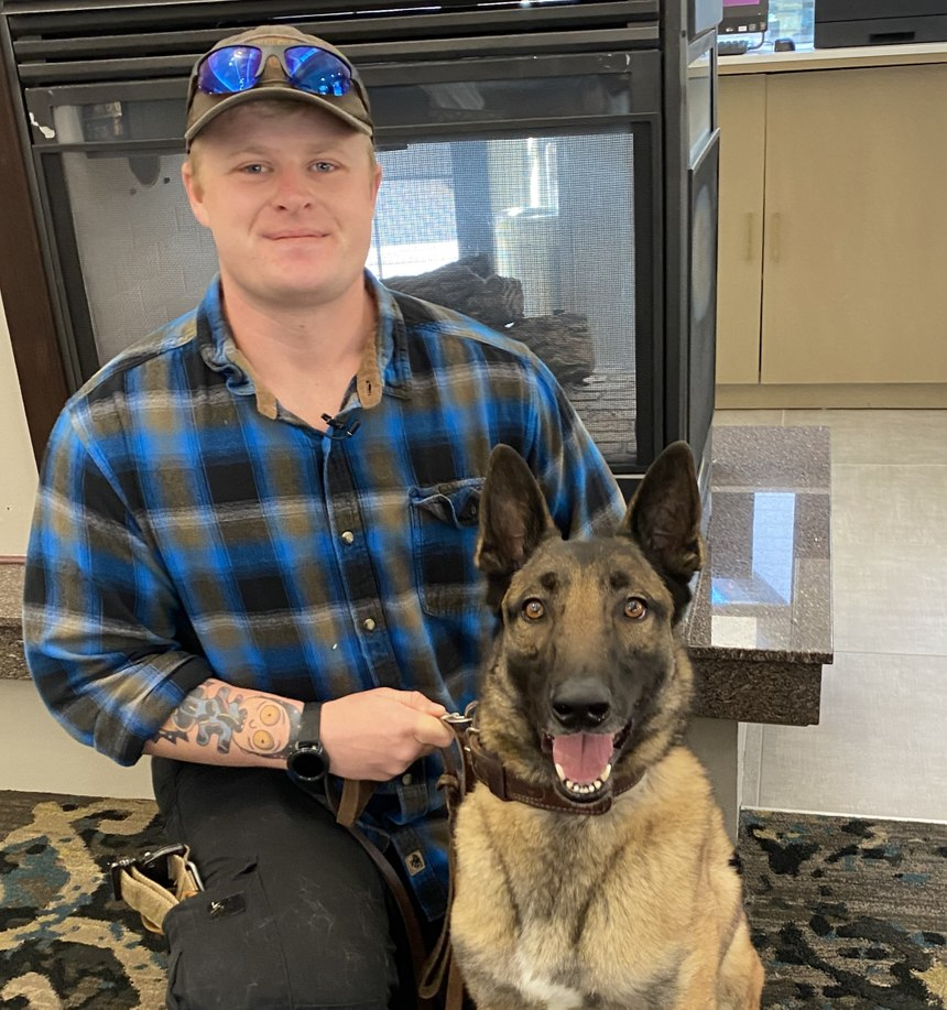 Military working dog VVito and handler Jessie Robinson served together in Rota, Spain. They were reunited by Mission K9 Rescue in 2019.