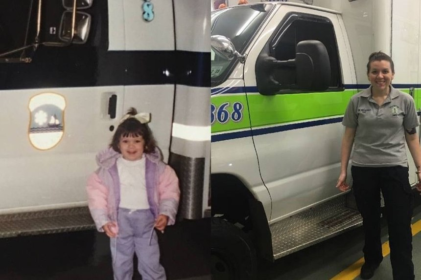 "Megan Franzoso (pictured here as a child and an adult) is described as someone ""destined to help her community"" by a GoFundMe page set up to help cover her hospital bills."