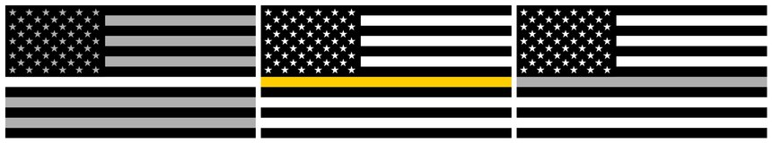 Thin line flags for EMS (left), dispatch (middle) and corrections