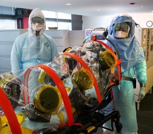 The Superior Ambulance team practices transporting a patient with a highly infectious disease; Ebola in this scenario.
