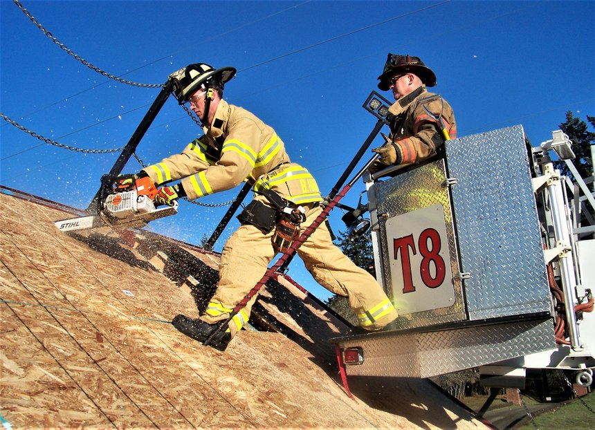Ventilating steep pitched roofs or questionable roofs from a tower or the tip of a ladder requires communication, coordination and teamwork from the tower operator or the operator at the turntable. It also requires additional training and the ability to be ambidextrous. Not all holes can be cut from your preferred position or strong side.