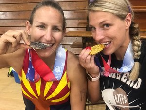 At the Police & Fire Championships'  Toughest Competitor Alive. category,  Morgan Dresser and Sara Shisslak (on the right) completed their eight-event competition with a 5k run, shot put, 100-meter dash, 100-meter swim, 20-feet rope climb, bench press, pull-ups and an obstacle course. (image courtesy of Arizona Firefighter Athletics)