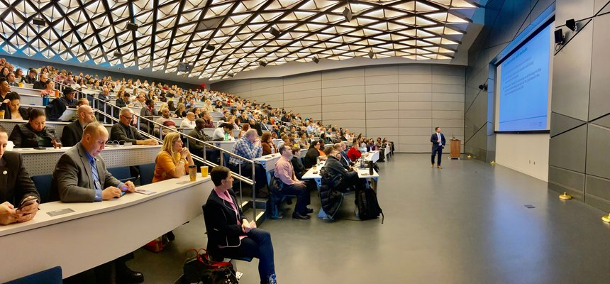 Experts from Acadia Healthcarebrief more than 350 members of the New York Police Department (NYPD) on ways to protect and improve the mental and emotional well-being of law enforcement personnel during a seminar, February 20, 2020.