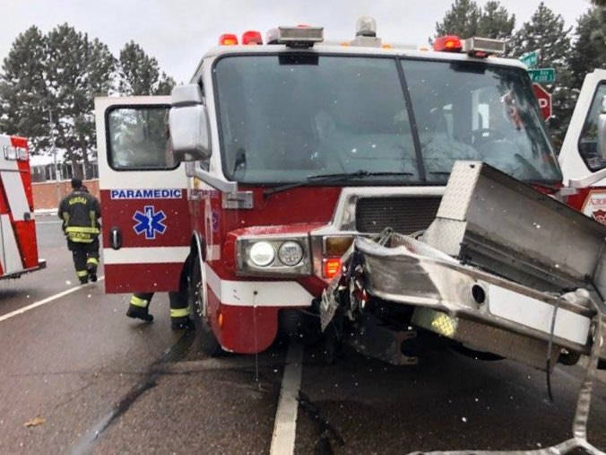 Four Colorado firefighters were injured when their fire apparatus collided with another vehicle. (Photo/Aurora FD Facebook)