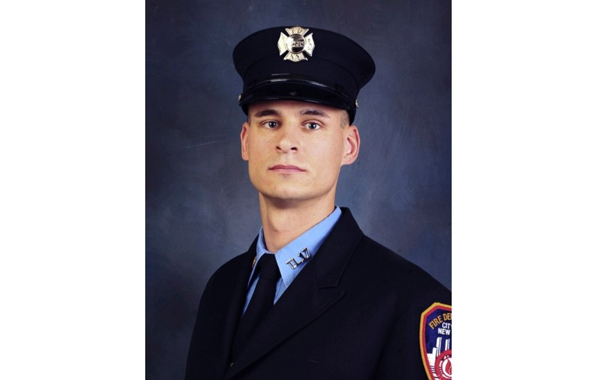This undated, file photo provided on April 9, 2019, by the Fire Department of New York shows firefighter Christopher Slutman. The 15-year member of the Fire Department was among three American service members killed by a roadside bomb in Afghanistan on Monday, April 8. (Fire Department of New York via AP, File)