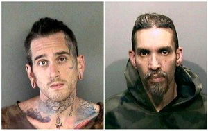 Max Harris, left, and Derick Almena are pictured following their arrests related to the warehouse fire that killed 36. (Alameda County Sheriff's Office via AP)