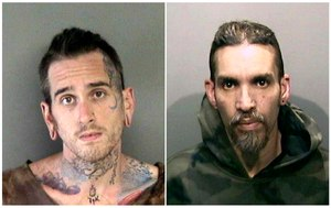 Max Harris, left, and Derick Almena are pictured following their arrests related to thewarehouse fire that killed 36.