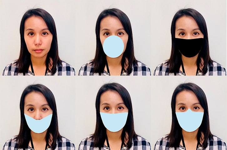 Researchers digitally applied mask shapes to photos and tested the performance of face recognition algorithms developed before COVID appeared. Because real-world masks differ, the team came up with variants that included differences in shape, color, and nose coverage.