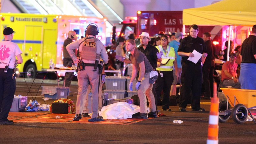 Atmosphere in the immediate aftermath of the mass shooting on the Las Vegas Strip (Las Vegas Boulevard) in Las Vegas, Nevada on Sunday, October 1st, 2017.
