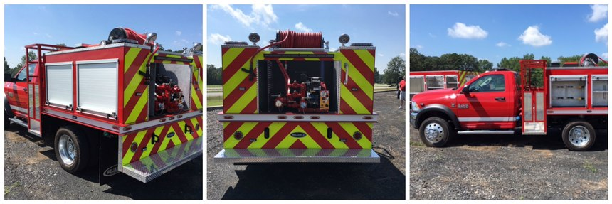 This QRV is constructed on a Dodge 5500 truck chassis, with a 300-gpm rear-mount pump and 375-gallon polypropylene tank, hose reel and preconnects for a 1¾-inch hose. The unit can easily meet the specifications for initial-attack fire apparatus as described in NFPA 1901.