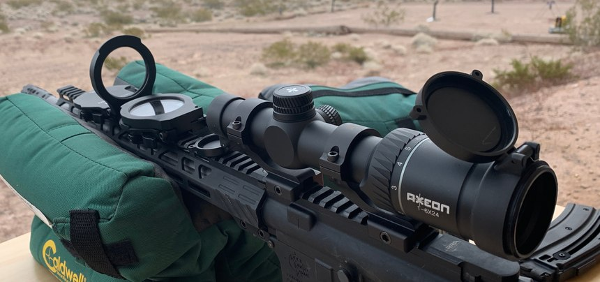 Two Umarex Second Zero units are mounted on the rail for accurate shooting at 100, 300 and 500 yards.