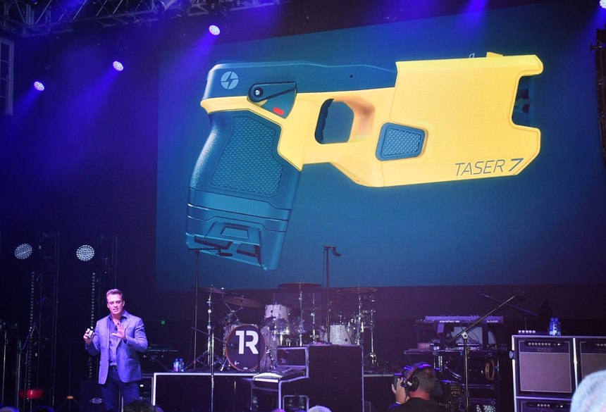 Rick Smith introduces the TASER 7 at the House of Blues in Orlando during IACP 2018.