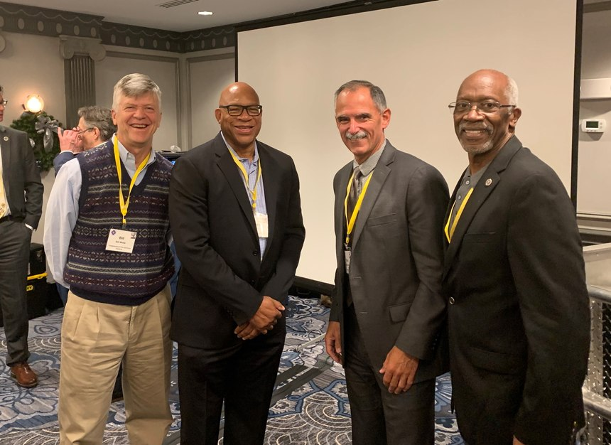 Truman Fire Forum meetings attendees (from left): Bill Webb, executive director, Congressional Fire Services Institute; Gregory Dean, fire chief, District of Columbia Fire and EMS; Marc Bashoor, fire chief, Highlands County (Florida) Fire Rescue, and executive editor, FireRescue1/Fire Chief; and Ernie Mitchell, former U.S. fire administrator.