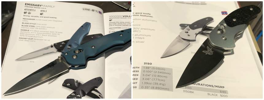 "Left: Benchmade's Emmisary is a 3.5"" assisted-opening knife; Right: You won't know you are carrying the Impel until you need it."