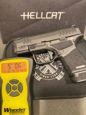 With the installed Apex trigger, the Springfield Armory Hellcat measures around 5.1 lbs on the trigger scale. This is within factory specs for safe on duty/off duty carry. The real difference is the way the trigger feels.