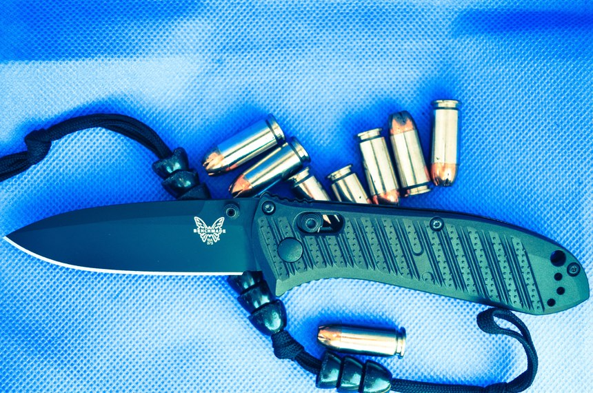 The Benchmade Mini Presidio II is a 3.19 oz EDC knife with a deep carry clip and CF-elite scales. The 3.20-inch blade is locked in place with an Axis lock, which has the reputation of being one of the strongest locks on the planet. (Photo/Lindsey Bertomen)