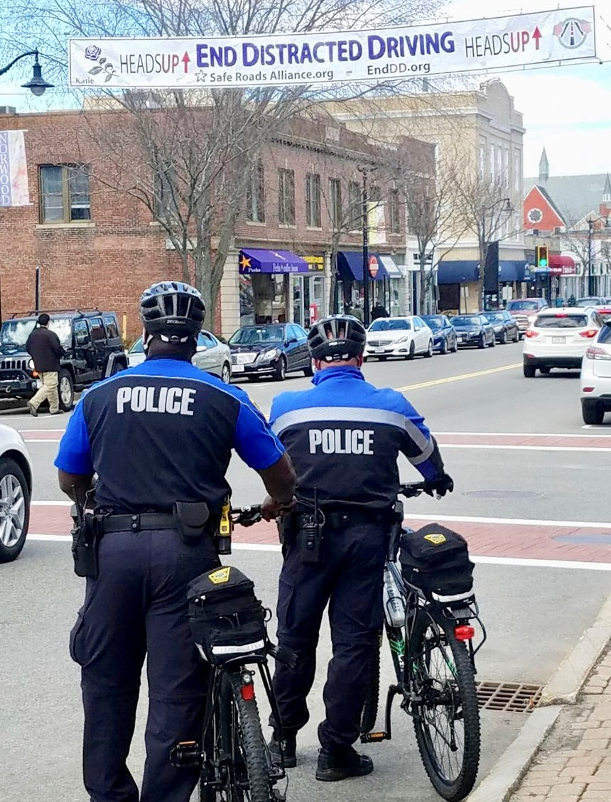 Norwood bike patrol officers focus on reducing distracted driving in the town's downtown sector. (Photo/Norwood Police Department)