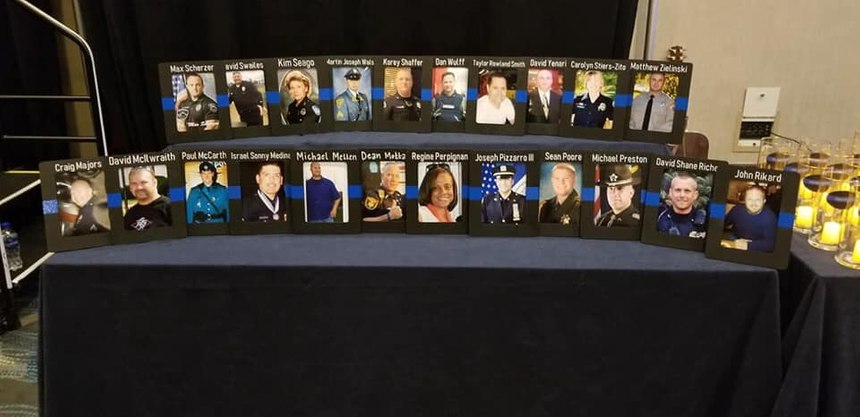 Photos of officers lost to suicide on display at the at the 2019 Blue H.E.L.P. Police Week event. (Photo/Blue H.E.L.P.)
