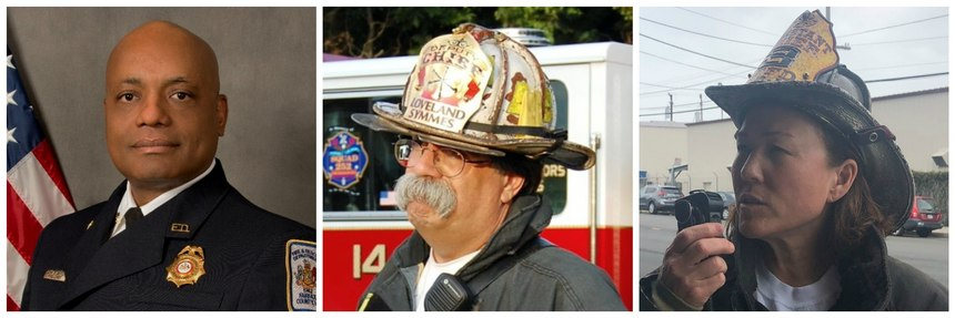 From left: John Butler, fire chief, Fairfax County Fire and Rescue Department, Virginia; Billy Goldfeder, deputy chief, Loveland-Symmes Fire Department, Ohio; Nicol Juratovac, assistant chief, San Francisco Fire Department.