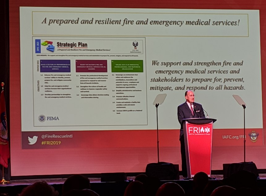 U.S. Fire Administrator Chief G. Keith Bryant spoke about the new USFA Strategic Plan, which focuses on the need to develop a prepared and resilient fire and emergency service. (Photo/Janelle Foskett)