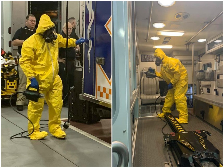 Bensalem ambulances are decontaminated using the TOMI Sterimist system. (Photo/Bensalem EMS via Facebook)