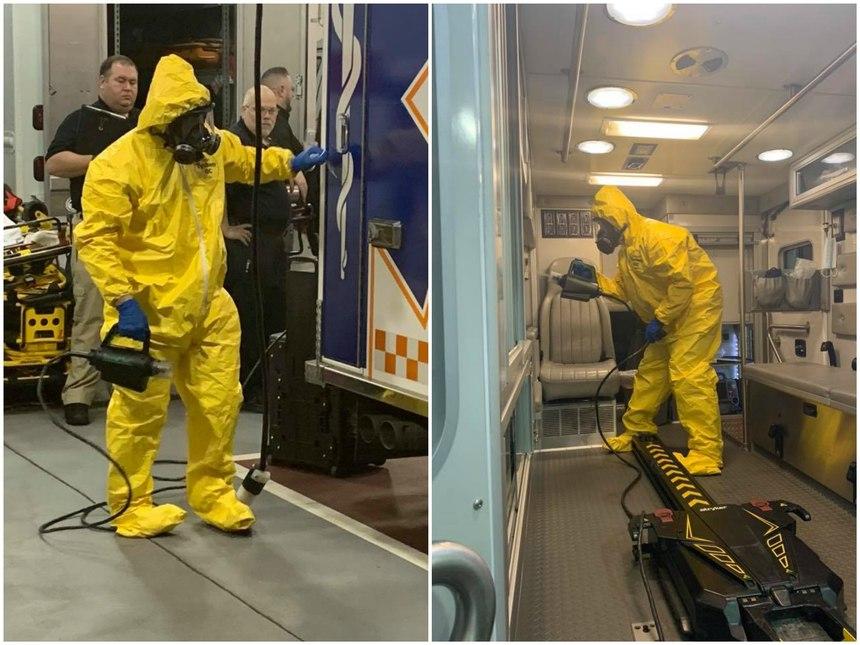 Bensalem ambulances are decontaminated using the TOMI Sterimist system.