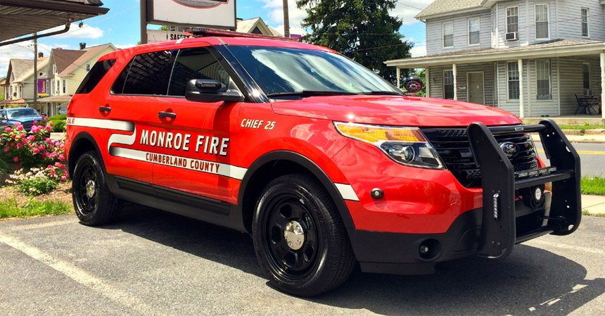 Fire chiefs may arrive to the scene in separate vehicles, commonly marked SUVs.