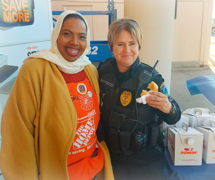 The Home Depot in Conyers, Georgia, invited officers to the store for donuts, coffee and lunch to thank officers for their service on National Law Enforcement Appreciation Day. Photo submitted by Officer Haygood of the Conyers Police Department, Jan. 9, 2020.