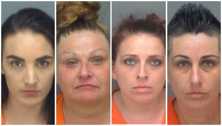 These four women are accused of smuggling drugs into the Pinellas County jail in recent weeks. (Photo/Pinellas County Sheriff's Office)